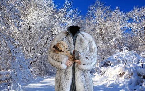 Зимняя прогулка с собачкой - шаблон женский