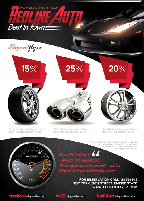 Redline Auto Flyer PSD Template + Facebook Cover