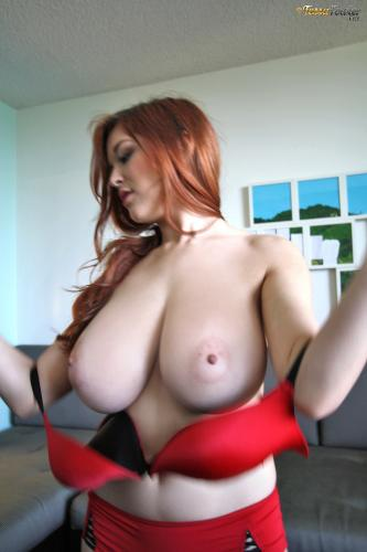 Tessa Fowler - Bra Tryouts Red Bra - BTS