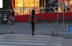 Summer Evening Wearing a Latex Dress and Stockings in Public